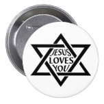 Mogan David Star - Jesus Loves You 7.5 Cm Round Badge