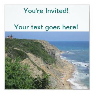 Mohegan Bluffs Block Island 13 Cm X 13 Cm Square Invitation Card
