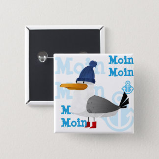 """""""Moin Moin"""" Seagull 15 Cm Square Badge"""