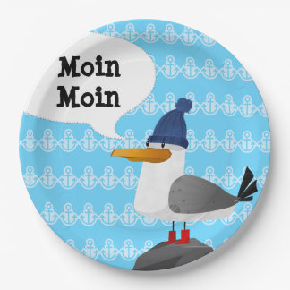 """Moin Moin"" Seagull Paper Plate"