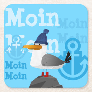"""Moin Moin"" Seagull Square Paper Coaster"