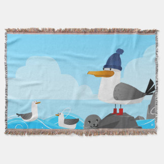 """Moin Moin"" Seagull Throw Blanket"
