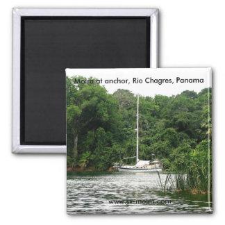 Moira at anchor, Rio Chagres, Panama Square Magnet