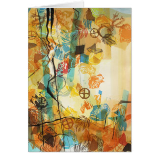 Mojave Desert Abstract Art Card Poppies and Rocks