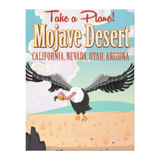 Mojave Desert cartoon travel poster Stretched Canvas Prints