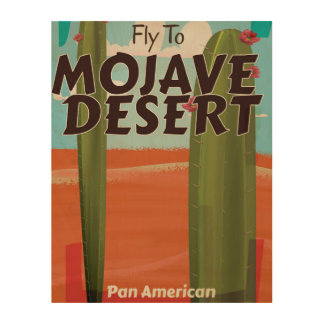 Mojave Desert USA Vintage travel poster. Wood Canvases