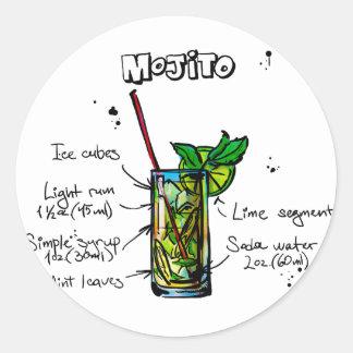 Mojito Cocktail Recipe Classic Round Sticker