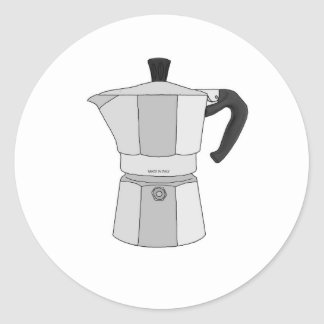 Moka coffee pot classic round sticker