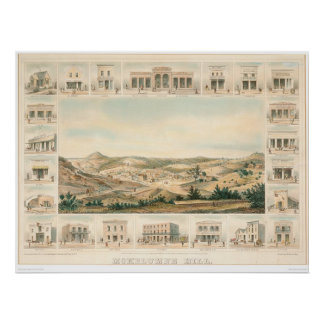 Mokelumne Hill Panoramic Map 1855 (1107A) Poster