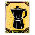Mokka Espresso Pot Woodcut Postcard