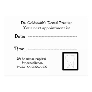 Molar Dental Appointment Design Pack Of Chubby Business Cards