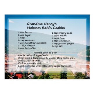 Molasses Raisin Cookie Recipe Postcard