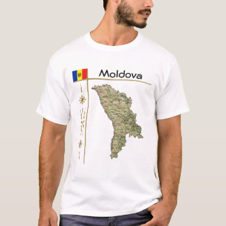 Moldova Map + Flag + Title T-Shirt