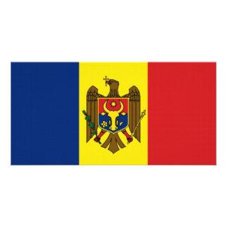 Moldova National Flag Custom Photo Card