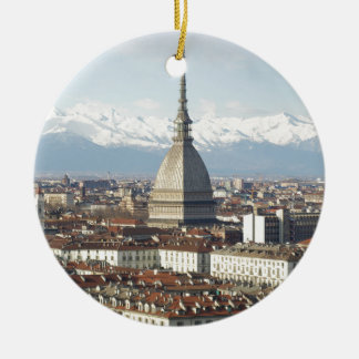 Mole Antonelliana in Turin Italy seen from the hil Ceramic Ornament
