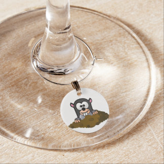 Mole cartoon wine charm