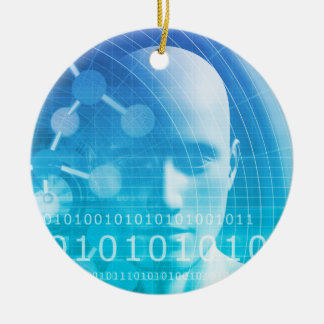 Molecule Background as a Science Abstract Concept Ceramic Ornament