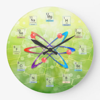 Molecules Atom Periodic Table on Green Background Large Clock
