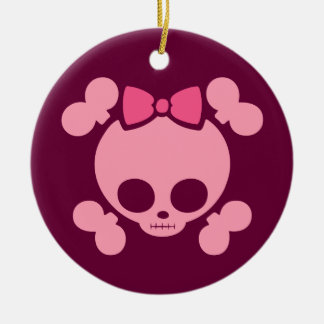 Molly Bow Pink Double-Sided Ceramic Round Christmas Ornament
