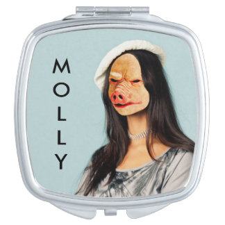 """Molly"" Name Pig Lady Mirror Makeup Mirror"