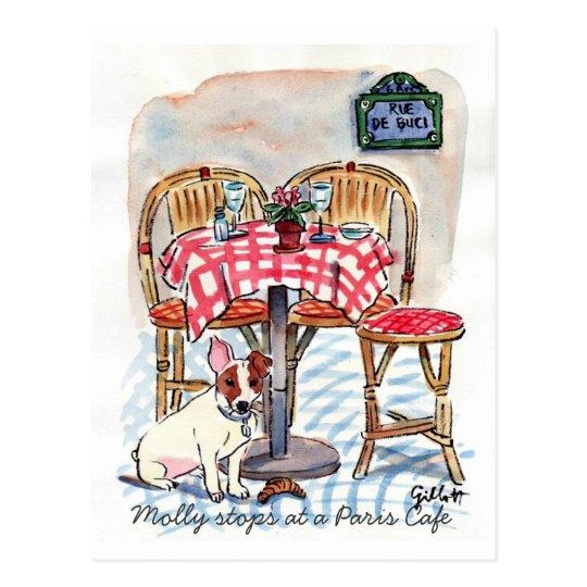 Molly Stops at a Paris Cafe Post card