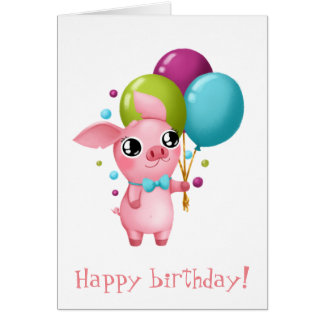 Molly the Micro Pig Birthday Card