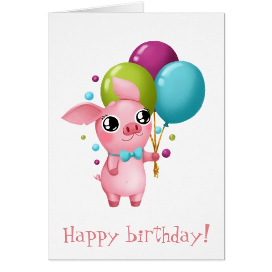 Molly the Micro Pig Birthday Card
