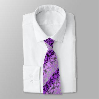 Moloaa Bay Hawaiian Hibiscus Stripe- Silver-Violet Tie