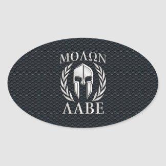 Molon Labe Chrome Like Spartan Helmet on Grille Oval Sticker