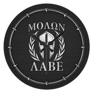 Molon Labe Chrome Spartan Helmet on Carbon Fiber Large Clock