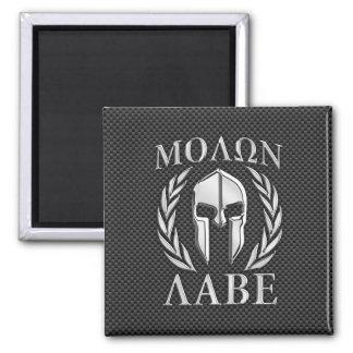 Molon Labe Chrome Spartan Helmet on Carbon Fiber Magnet