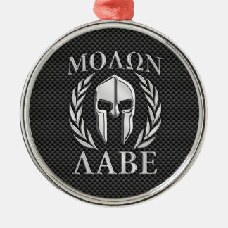 Molon Labe Chrome Style Spartan Armor Carbon Fiber Silver-Colored Round Decoration