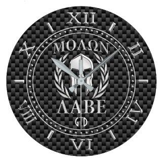 Molon Labe Chrome Style Spartan Armor Monogram Large Clock