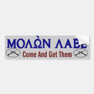 Molon Labe Come and Get Them Bumper Sticker