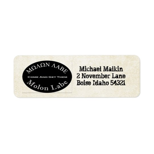 Molon Labe Come and Take Them Quote Return Address Label