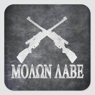 Molon Labe Crossed Rifles 2nd Amendment Square Sticker