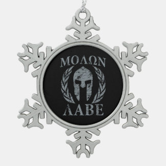 Molon Labe Grunge Spartan Armor Pewter Snowflake Decoration