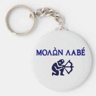 Molon Labe in Greek 2nd Amendment Basic Round Button Key Ring