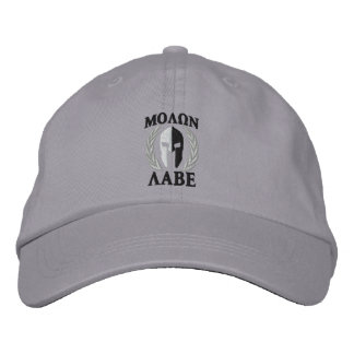 Molon Labe Spartan Helmet Laurels Black White Embroidered Cap