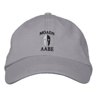 Molon Labe Spartan Helmet Laurels Black White Embroidered Baseball Cap