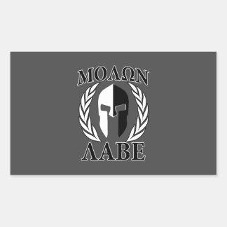 Molon Labe Spartan Helmet Laurels Monochrome Rectangle Stickers