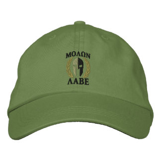 Molon Labe Spartan Helmet Laurels Olive Green Embroidered Hats