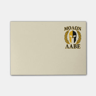 Molon Labe Spartan Helmet Laurels Warm Beige Post-it Notes