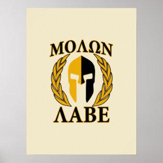Molon Labe Spartan Helmet Laurels Warm Beige Poster
