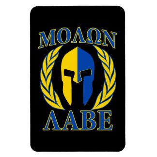 Molon Labe Spartan Helmet Laurels Yellow Blue Magnet