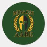 Molon Labe Spartan Laurels on Forest Green Round Sticker