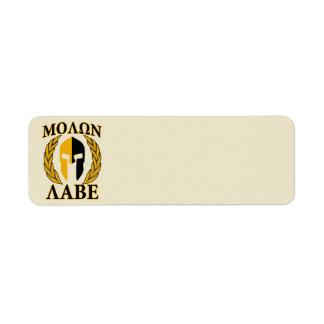 Molon Labe Spartan Mask Laurels Beige Accent Return Address Label
