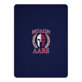 """Molon Labe Spartan Warrior Carbon Fiber Print 5.5"""" X 7.5"""" Invitation Card"""