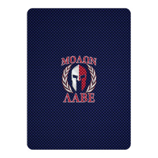 Molon Labe Spartan Warrior Carbon Fiber Print 14 Cm X 19 Cm Invitation Card