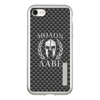 Molon Labe Spartan Warrior Carbon Fiber Print on a Incipio DualPro Shine iPhone 8/7 Case